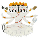 6-ajna goddess Shakti Hakini  white as the moon